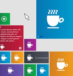 Coffee cup sign buttons modern interface website vector