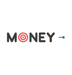 Concept of money text with bulls eye and dart on vector