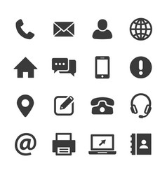 Contact and communication icon set vector