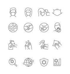 coronavirus safety line icons on white background vector image