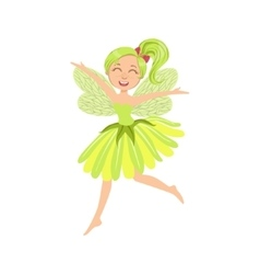 Cute Fairy In Green Dress Girly Cartoon Character vector