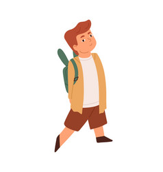 Cute little smiling boy walking with backpack vector