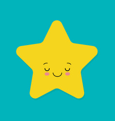 cute yellow smiling little star on blue vector image