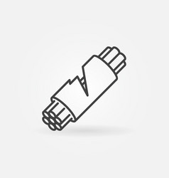 Damaged fiber optic cable icon in thin line vector