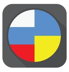 dark grey round edge button with ukraine vector image