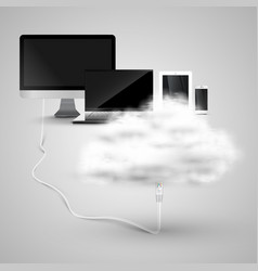 devices are connecting to cloud vector image