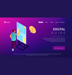 Digital guide isometric 3d landing page vector