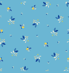 Ditsy blue floral summer lemon repeating pattern vector