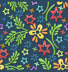 Doodle shapes floral seamless pattern vector
