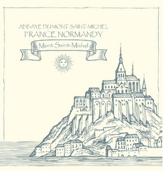 Drawing of mont saint michel france vector