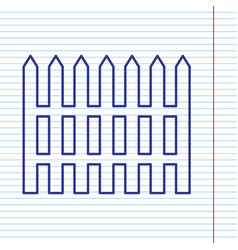 Fence simple sign navy line icon on vector