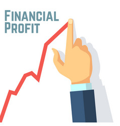 finger drawing growth chart financial profit and vector image