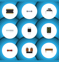 Flat icon appliance set of receiver resistance vector