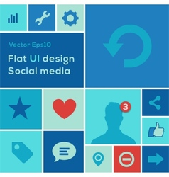 Flat UI design trend social media set icons vector image