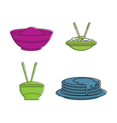 Food on plate icon set color outline style vector