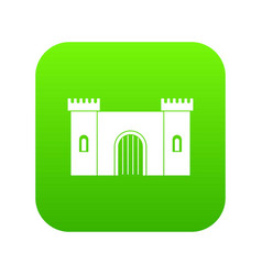 Fortress with gate icon digital green vector