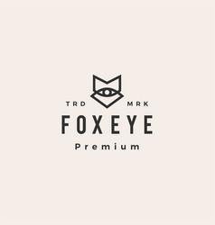 fox eye vision hipster vintage logo icon vector image