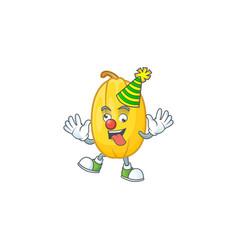 Funny clown spaghetti squash on cartoon character vector