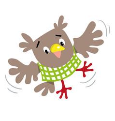 Funny flying owl vector