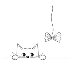 funny peeking kitten playing with a cat toy vector image