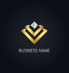 Gold future 3d line logo vector