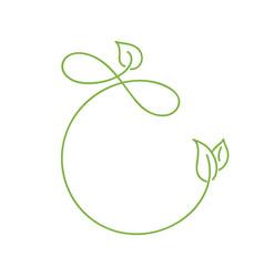 Green monoline calligraphy logo of green leaf vector