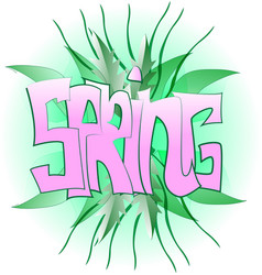green spring graffiti vector image