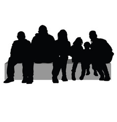 Group of people sitting on a stone silhouette vector