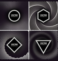 Halftone dotted backgrounds set circle hexagon vector