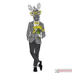Hand drawn of zebra gentleman with flowers vector image