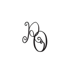 Handwritten monogram ro icon vector