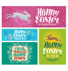 happy easter banner lettering vector image