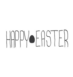 Happy easter text lettering isolated on white vector