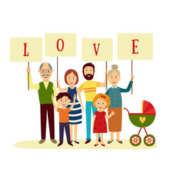 Happy family members holding letters word love vector