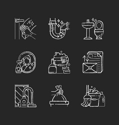 Housekeeping chores chalk white icons set on vector