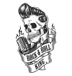 Human skull in rock and roll vector