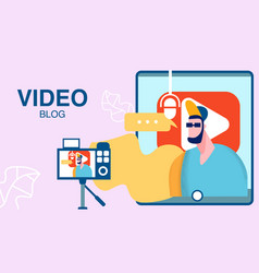 internet video blog vlog flat color vector image