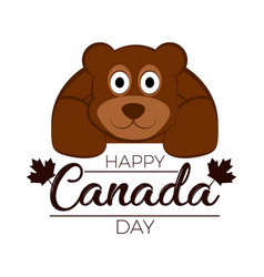 Isolated bear canada day vector