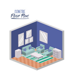 isometric floor plan of wide living room interior vector image