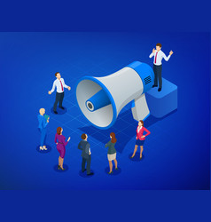Isometric megaphone and people digital marketing vector