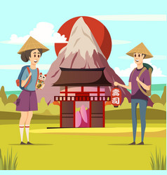 japan travel sightseeing background poster vector image