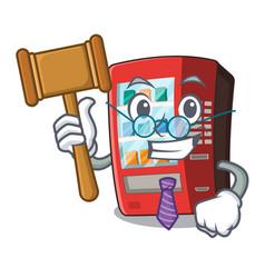 Judge toy vending machine above cartoon table vector