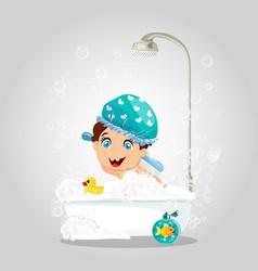 kawaii little boy in washing hat bathing in shower vector image