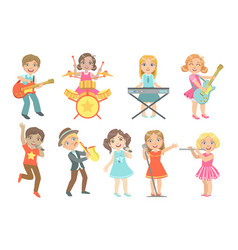 Kid singing and playing music instruments set vector