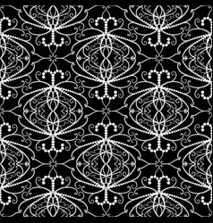lace dotted damask seamless pattern black vector image