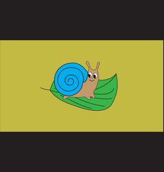 little snail sitting on green leaf vector image