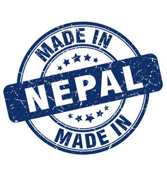 Made in nepal blue grunge round stamp vector