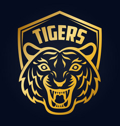 mascot of gold tigers head on shield background vector image