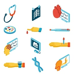 Medical isometric icons vector image