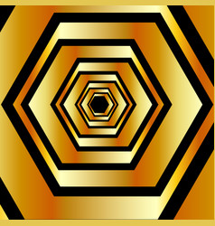 Metallic hexagonal illusion in gold colors forming vector